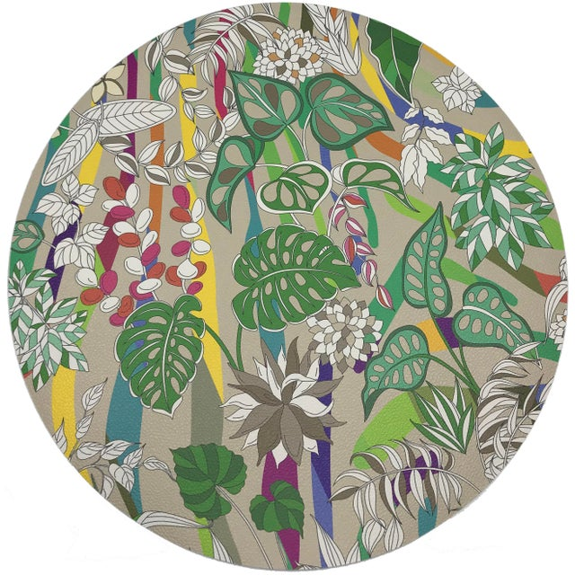 "African Nicolette Mayer Sabi Jungle Beige 16"" Round Pebble Placemats, Set of 4 For Sale - Image 3 of 3"
