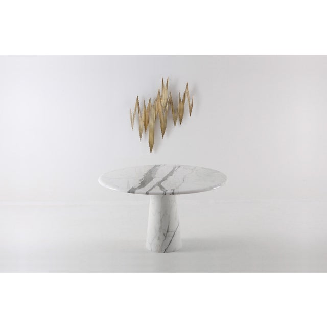 Midcentury Round Italian Carrara Marble Dining Table For Sale - Image 6 of 13