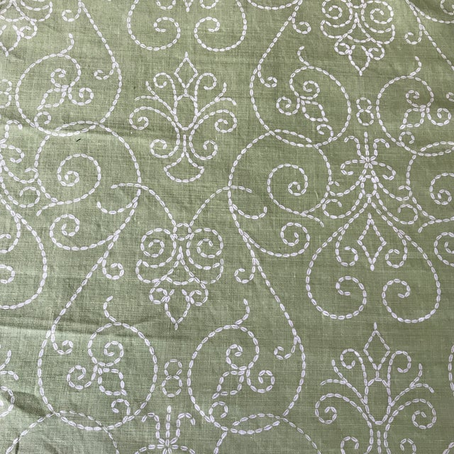 "Raoul ""Vizcaya"" Textiles Green Linen Fabric 2 1/3 Y For Sale - Image 9 of 9"