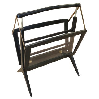 Foldable Italian Mid-Century Magazine Rack For Sale