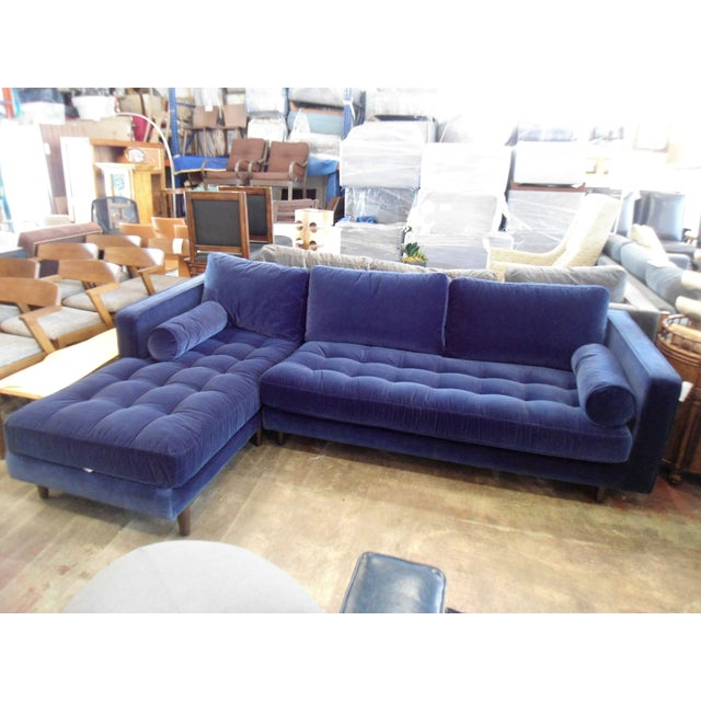 Navy Blue Velvet Sectional W/ Tufted Seat, Left Chaise For Sale In Los Angeles - Image 6 of 6