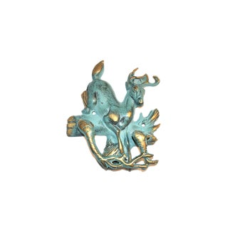 Verdigris and Gold Stag Door Knocker For Sale