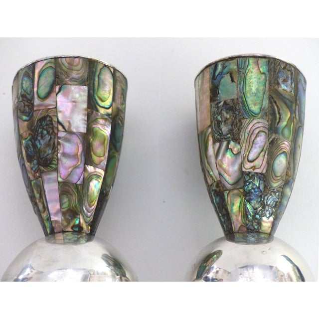 Los Castillo Los Castillo 'Taxco, Mexico' Silver Plate and Abalone Candle Holders - a Pair For Sale - Image 4 of 11