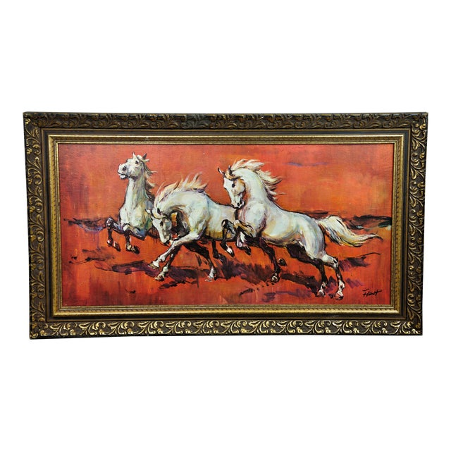 Vintage Retro 70s Baroque Framed Boots Print Horses on Red by H Faust For Sale