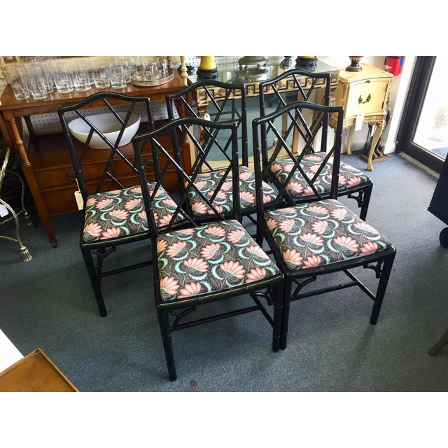 Chippendale 1970s Asian Modern Chippendale Reupholstered Black Wood Dining Chairs - Set of 5 For Sale - Image 3 of 9