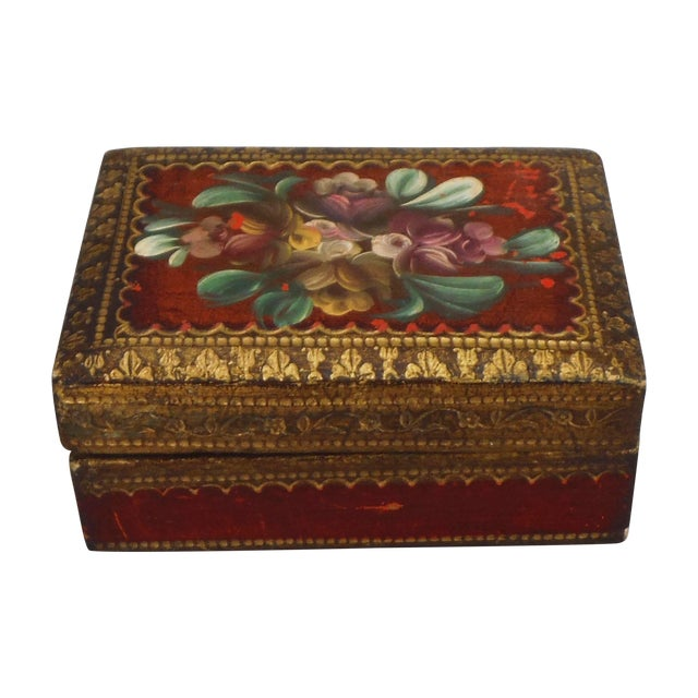 Florentine Red & Gilded Wood Box - Image 1 of 5