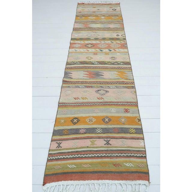 """Textile Vintage Turkish Kilim Runner-2'8'x9'8"""" For Sale - Image 7 of 13"""