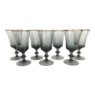 Smoked Crystal Goblets With Silver Rims - Set of 7 For Sale