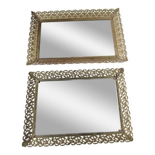 Vintage Hollywood Regency Mirror Vanity Trays-2 Pieces For Sale
