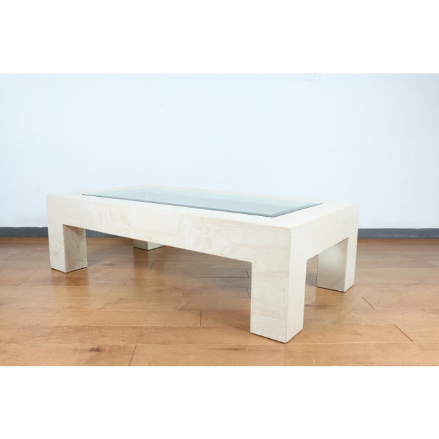White Mid Century Travertine Coffee Table For Sale - Image 8 of 8