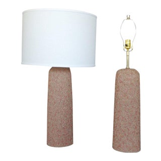 Pair of Textured Ceramic Table Lamps by Rita Sargen For Sale