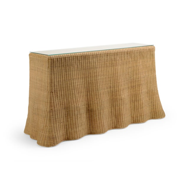 inspired by ocean waves, the savannah console flows beautifully in a waterfront environment.handwoven in natrual wicker...