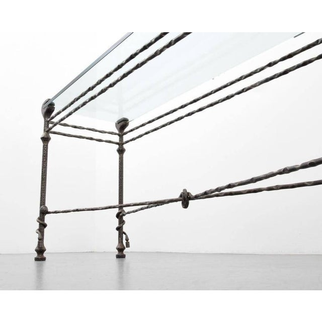 Diego Giacometti style Mid-Century Hammered Iron Console Table For Sale In Houston - Image 6 of 8