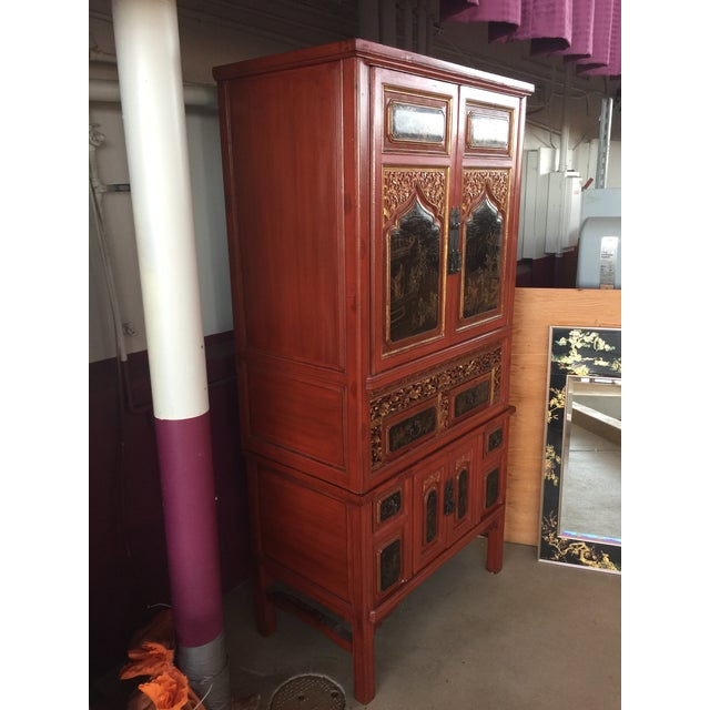 Paint Antique Carved Asian Red Lacquer Cabinet For Sale - Image 7 of 11