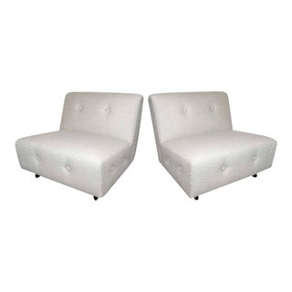 Pair of Elegant Art Deco Slipper Chairs With Chevron Print For Sale