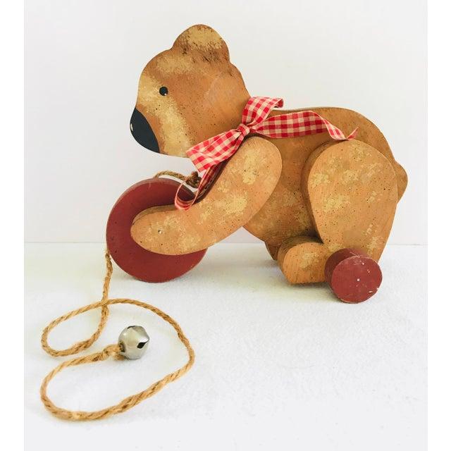 Vintage Primitive Wood Teddy Bear on Rolling Wheels For Sale - Image 11 of 11