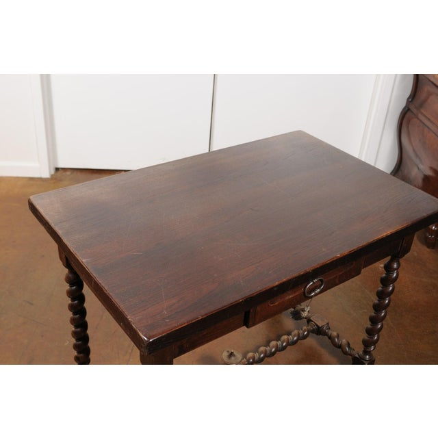 French Walnut Louis XIII Style Desk with Barley Twist Base from the 19th Century For Sale - Image 10 of 13