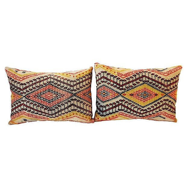 Antique Caucasian Soumak Pillows, Pair - Image 3 of 8