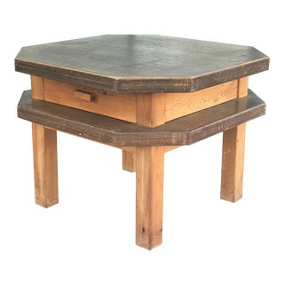 Spanish Mid Century Modern Octagonal Side or Center Table in Walnut For Sale