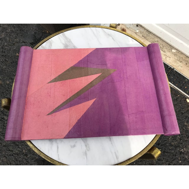 Lacquered papier- mâché tray with fun lighting bolt pattern. Vibrant pink and light purple color scheme. Possibly made in...