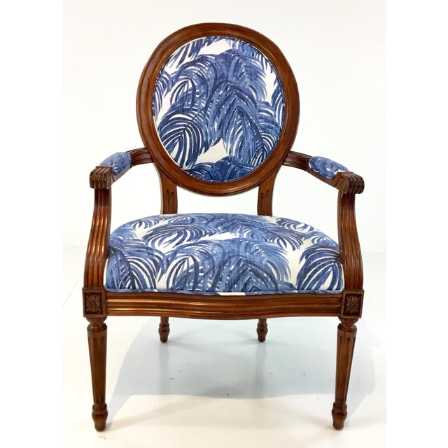 Textile Port 68 French Style Blue Palm Print Avery Arm Chair For Sale - Image 7 of 7