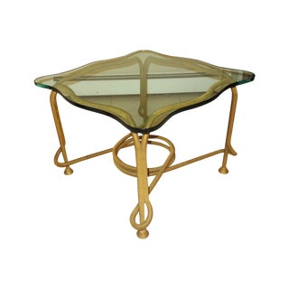 Brass And Glass Table For Sale