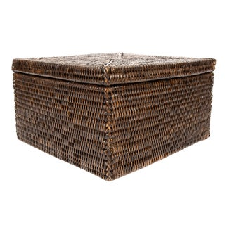 "Artifacts Rattan Storage Box With Lid 12.5""x11.75""x7"" For Sale"