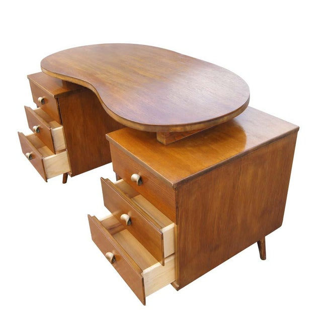 Mid Century Modern Oak Vanity and Chair - 2 Pieces For Sale - Image 4 of 11