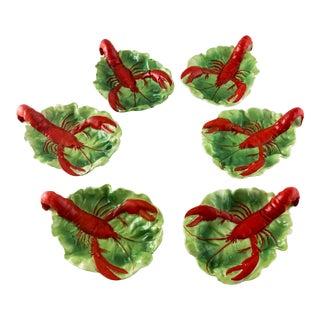 1902 German Porcelain Lobster Lettuce Leaf Dishes - Set of 6 For Sale
