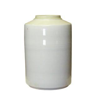 Chinese Oriental Ceramic Off White Glaze Plain Surface Large Vase Jar For Sale