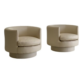 Pair of Modern Roche Bobois Newly Upholstered Leather Tub Swivel Chairs For Sale