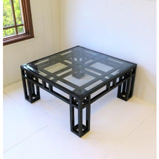 1980s Black Lacquer and Glass Geometric Square Coffee Table Preview
