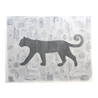 Panther Mid Century Modern Style Painting by Cleo Plowden For Sale