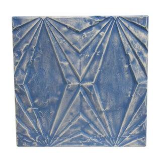 Antique Art Deco Blue Tin Panel For Sale
