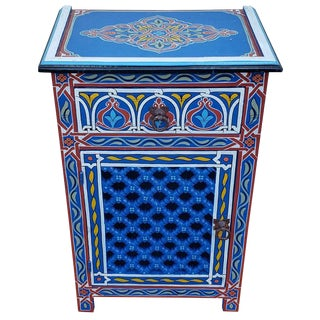 Moroccan Hand Painted Wooden Nightstand For Sale