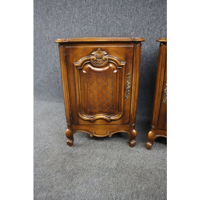 Louis XV Style Carved Cherry Nightstands - a Pair For Sale - Image 4 of 8