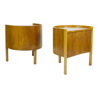 Drexel Mid-Century Modern Walnut Barrel Back Nightstands - a Pair For Sale