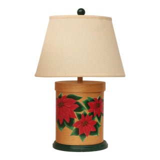 Poinsettia Bentwood Box Table Lamp For Sale
