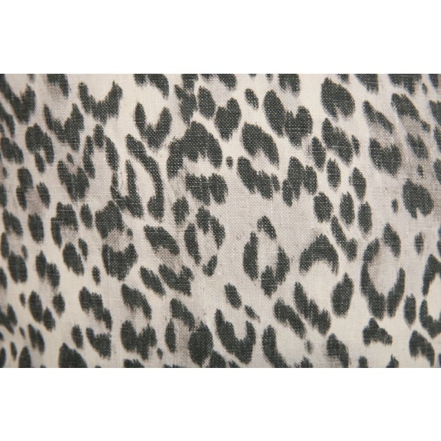 Boho Chic Pewter Charcoal Gray Linen Leopard Pillows - a Pair For Sale - Image 3 of 5
