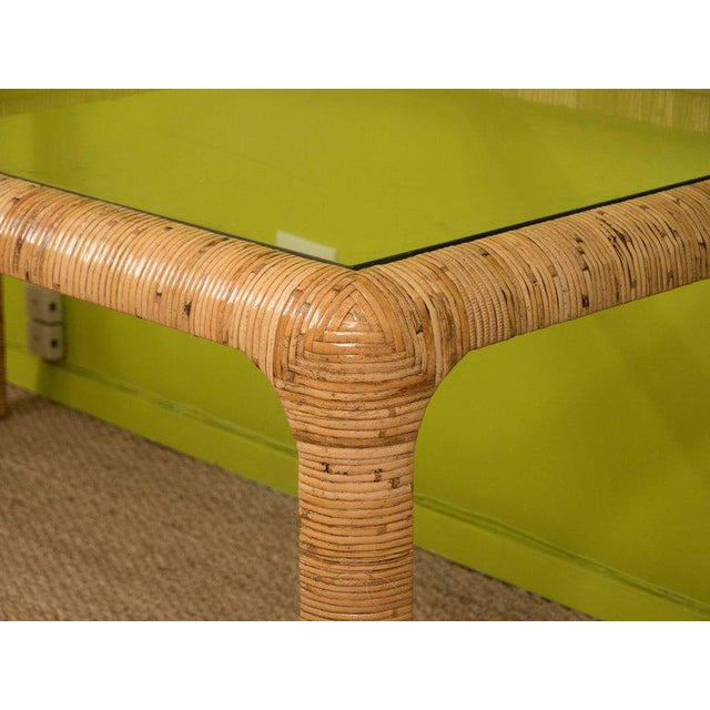 Boho Chic Rattan & Glass Console Table For Sale - Image 3 of 9