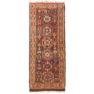 Traditional Ornate All Over Geometric Pattern Wool Runner - 3′9″ × 9′2″ For Sale
