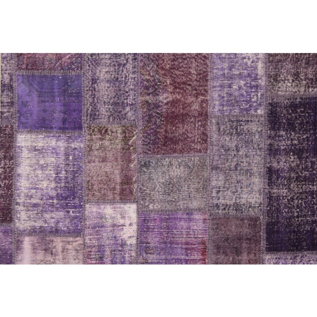 """Hand Knotted Purple Patchwork Rug by Aara Rugs Inc. - 10'0"""" X 8'0"""" - Image 2 of 3"""