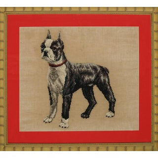 "Fab Hand-Needlepoint ""Boston Terrier"" in Custom Bamboo Frame!~ For Sale"