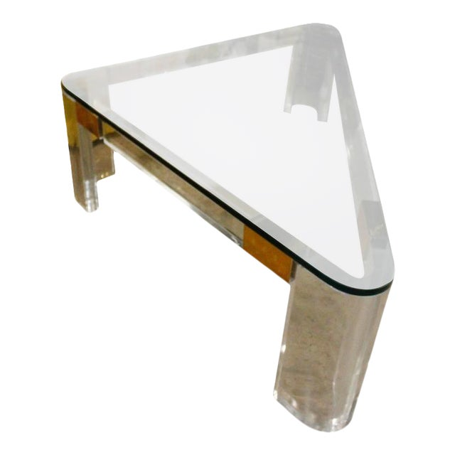 Charles Hollis Jones Lucite and Brass Triangle Coffee Table For Sale - Image 12 of 12