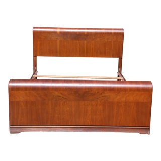 Vintage Art Deco Walnut Waterfall Full Size Double Bed Frame For Sale
