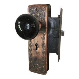 Late 19th Century Art Nouveau Victorian Mortise Lock With Door Knobs For Sale