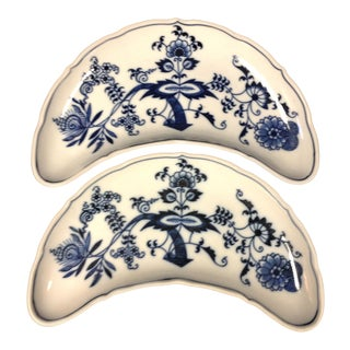 Blue Onion Crescent Salad Plates - A Pair