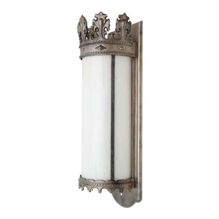 Gothic Nickel Lantern Sconce with Milk Glass For Sale