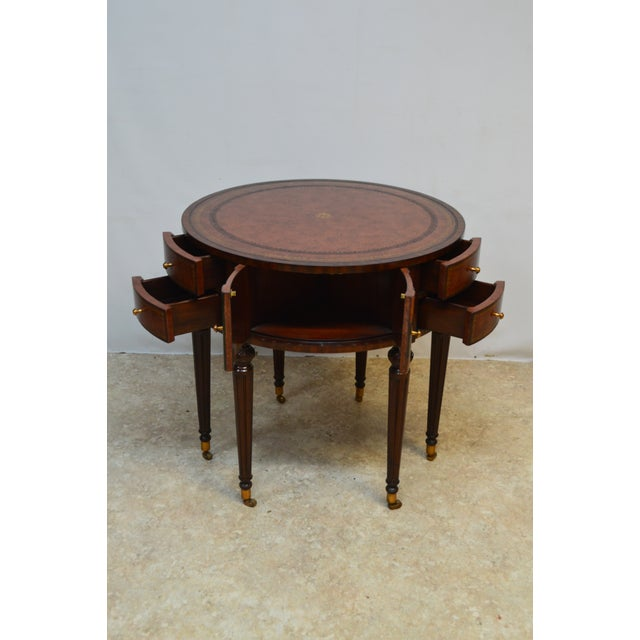 Chippendale Maitland Smith Mahogany Book Leather Accent Round Hall Table For Sale - Image 3 of 13