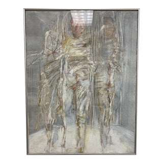 """Carol A. Levy Monoprint """"Emerging Figure"""" Signed + Dated 1982 For Sale"""